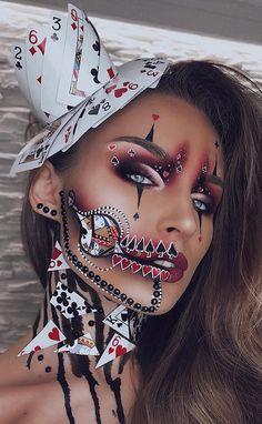 51 Tötende Halloween-Make-up-Ideen, um alle Komplimente und Leckereien zu samme. 51 killing halloween makeup ideas to collect all the compliments and treats Beautiful Halloween Makeup, Creepy Halloween Makeup, Creepy Makeup, Clown Makeup, Unicorn Makeup, Eye Makeup, Unicorn Halloween, Joker Makeup, Mask Makeup