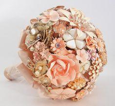 BLUSHING BRIDE Vintage Brooch Keepsake Bouquet by ZoeGraceBlooms, $465.00