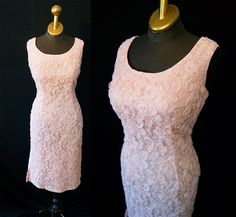 Lovely 1950's soft pink lace over tulle floral print cocktail wiggle dress bridal party vlv rockabilly - size Large to XL. $165.00, via Etsy.