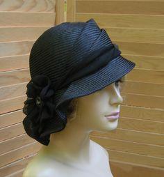 Sophia, beautiful straw millinery hat, womens hand made cloche,  black straw hat by LuminataCo on Etsy https://www.etsy.com/listing/77777586/sophia-beautiful-straw-millinery-hat