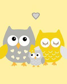 SALE 20% OFF Yellow and gray nursery Nursery Owl by ChicWallArt