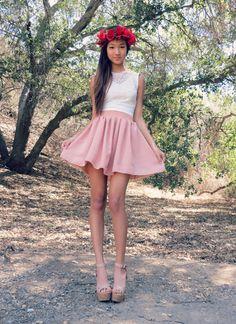 Flower crown - Romantic Boutique Heart bindi - c/o Tiklyz Backless top - c/o Charlotte Russe Chiffon skirt - c/o Chicnova Nude shoes - Forever 21