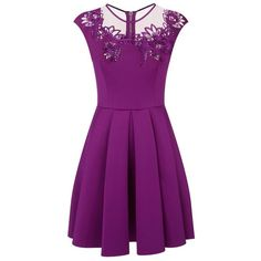 Ted Baker Embroidered Mesh Insert Dress ($200) ❤ liked on Polyvore featuring dresses, fit and flare dress, purple summer dresses, ted baker dresses, day summer dresses and embroidery dress