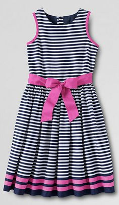 A striped dress, perfect for the Flower Girl | Lands' End