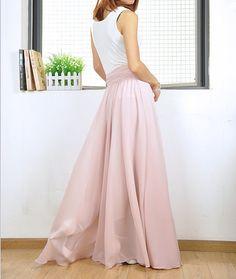 High Waist Maxi Skirt Chiffon Silk Skirts Beautiful Bow Tie Elastic Waist Summer…