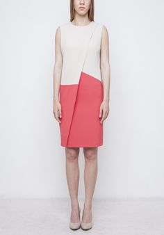 Image of Beige Colorblock Dress Colorblock Dress, Spring Summer 2016, Woven Fabric, Color Blocking, Dresses For Work, Beige, Skirts, Model, How To Wear