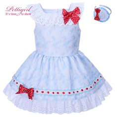 Pettigirl Girls Blue Summer Dress With Red Bows And Headwear Lace Collar Children Fashion Boutique Clothes G-DMGD001-1291