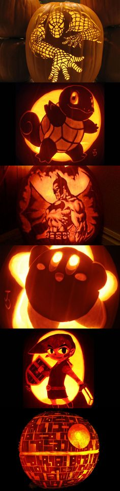 Cool Jack-O-Lanterns for Halloween - In order - Spiderman - Squirtle from Pokemon - Batman - Kirby - Link from Zelda - Death Star from Star Wars #VideoGames