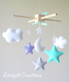 baby mobile cloud mobile mint lilac Mobile von lovefeltmobiles