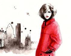 Watercolor Fashion Illustration: London Calling -- 8 x 10 Fine Art Print. $20.00, via Etsy.