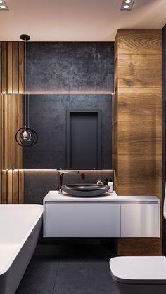 Modern Bathroom, Small Bathroom, Master Bathroom, Bathroom Ideas, Master Baths, Bathroom Storage, Beige Tile Bathroom, Towel Storage, Door Storage