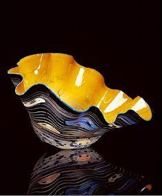 Dale Chihuly, Tangerine Orange Black Macchia with Turquoise Lip Wrap