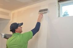 How to Install Drywall (with pics): Hanging, Taping, Finishing Installing Vinyl Plank Flooring, Home Window Repair, Drywall Installation, Basement Remodeling, Remodeling Ideas, Building A Shed, Basement Bathroom, Shed Plans, Woodworking Shop