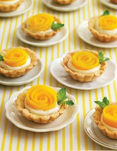 Wedding cocktail hour or dessert treats: Mango Rosette Tartlets! Mini Desserts, Just Desserts, Delicious Desserts, Yummy Food, Individual Desserts, Mini Dessert Recipes, Coconut Desserts, Fruit Dessert, Easter Desserts