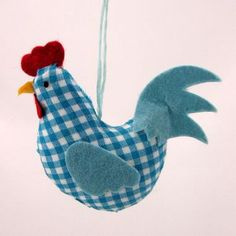 Blue Gingham Chicken / Hen Hanging Decoration by Gisela Graham Easter Range
