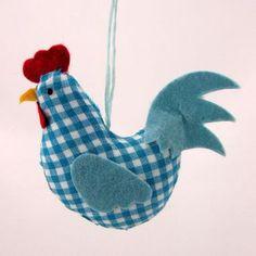 Blue Gingham Chicken / Hen Hanging Decoration by Gisela Graham Easter Range