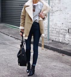 justthedesign:  This shearling lined coat looks stylish paired...