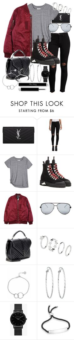 """""""Untitled #20978"""" by florencia95 ❤ liked on Polyvore featuring Yves Saint Laurent, Hudson, Current/Elliott, Off-White, Stussy, Quay, Chupi, Lydell NYC, ROSEFIELD and Monica Vinader"""