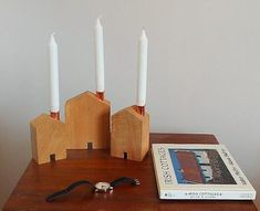 Teach Candle Holders by Sam Agus Nessa Beautiful Candles, Clean Design, Wood Grain, House Warming, Facade, Candle Holders, Things To Come, Teaching, Pennies
