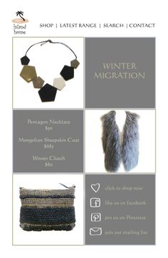 Winter has migrated! But we all know she'll be back...  Pentagon Necklace http://www.myislandhome.com.au/item.mibiznez?id=4570 Mongolian Sheepskin Coat http://www.myislandhome.com.au/item.mibiznez?id=4584 Woven Clutch  http://www.myislandhome.com.au/item.mibiznez?id=4571