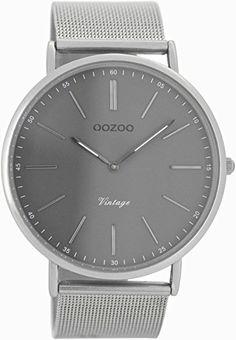 Oozoo Vintage Herrenuhr Grau/Silber C7382 - http://uhr.haus/oozoo/oozoo-vintage-ultra-slim-metallband-44-mm-silber