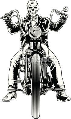 Vector illustration of a skeleton biker - vektor illus - Motorrad Harley Davidson Sportster, Harley Davidson Kunst, Harley Davidson Tattoos, Harley Davidson Wallpaper, Harley Davidson Chopper, Chopper Motorcycle, Motorcycle Art, Bike Art, Women Motorcycle