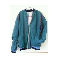 Vintage unisex 90s style bomber jacket featuring polyvore fashion clothing outerwear jackets coats & jackets tops flight jacket blouson jacket unisex jackets vintage jacket blue jackets