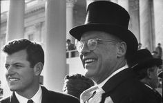 Edward M. Kennedy(L) at the Inaugeral ceremony for President John F. Kennedy.