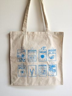 Flower Seeds Tote Bag Screen Printed Cotton Reusable by andMorgan Printed Tote Bags, Canvas Tote Bags, Screen Printing Shirts, Reusable Grocery Bags, Handmade Handbags, Thing 1, Printed Cotton, Flower Seeds, Laptop