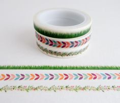 Floral Patterns - Mini Washi Tape - Set of 3 Rolls - Flowers and Grass