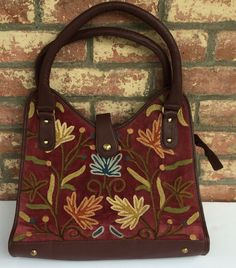 Wine & Brown Structured-U Bag with Embroidered Flowers