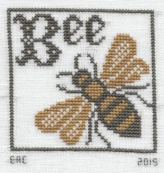 "Design - ""Bee Ornament"" Chart - ""Where There Are Bees"" Designer - The Prairie Schooler Fabric - 28 count white Cashel . Bee Embroidery, Cross Stitch Embroidery, Embroidery Patterns, Crochet Patterns, Cross Stitch Charts, Cross Stitch Designs, Cross Stitch Patterns, Bee Creative, Cross Stitch Animals"