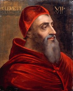 Portrait of Giulio de Medici Pope Clement VII. Cousin of Lorenzo II de' Medici, Duke of Urbino, son of Giuliano de' Medici who was the brother of Lorenzo the Magnificent. Elected to the Papacy, becoming Pope Clement VII. Chateau Saint Ange, Charles Quint, Voyage Florence, Los Borgia, Diego Velazquez, Italy History, Rome, Miguel Angel, Royalty