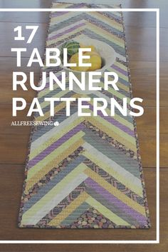 Gorgeous Table Runner Patterns: 17 DIY Table Runner Tutorials Learn how to sew a table runner with these free sewing patterns Patchwork Table Runner, Table Runner And Placemats, Quilted Table Runners, Table Runner Tutorial, Table Runner Pattern, Sewing Patterns Free, Quilt Patterns, Free Sewing, Quilts