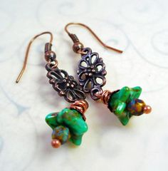 Copper Filigree Dangle Earrings  Wire by RoEnchantedDesigns, $10.00