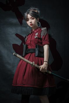 Your Highness -The Vow- 2019 Version Military Lolita OP Dress,Lolita Dresses, Female Pose Reference, Pose Reference Photo, Art Reference Poses, Samurai Poses, Estilo Lolita, Poses References, Cute Fashion, Girl Fashion, Military Fashion
