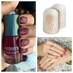 Jamberry Red Currant lacquer with Fall Fever layered over.  (Bottom Right: I Lava You lacquer with Fall Fever)  Love these Jamberry wraps!!