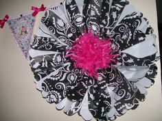 20 inch Tissue Paper Flower. White and Black. Keeping with the theme for the 80th Birthday Party.
