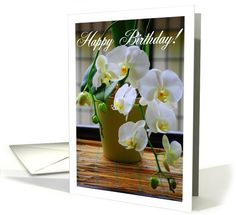 White Orchids Happy Birthday card, bamboo tray, phaelenopsis orchid