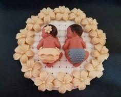 Los bebés gemelos de fondant cake topper para Baby Shower