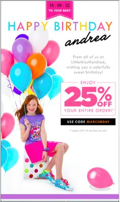 In this email, LittleMissMatched promoted an exclusive birthday offer by including the recipient's first name in the email heading. The email also included a timer that counted down the hours, minutes, and seconds till the recipient's birthday.   For more creative examples of email personalization, check out our most recent eBook: http://bit.ly/1FNh5zN