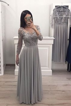 Long Sleeves Chiffon Long Prom Gown Appliques Bridesmaid Dresses - Prom Dresses For Teens - Wedding Dresses Burgundy Homecoming Dresses, Grad Dresses Long, Bridesmaid Dresses With Sleeves, Prom Dresses For Teens, Long Prom Gowns, Prom Party Dresses, Cheap Dresses, Evening Dresses, Chiffon Dresses