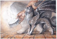 feeding kitty dragon by drachenmagier.deviantart.com on @DeviantArt