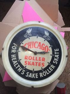 "1946 CHICAGO SKATE CLOCK LIGHTED AD SIGN 16"" NEON PRODUCTS INC,Roller Rink,WORKS"