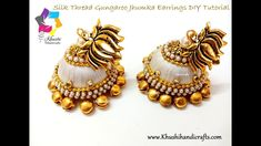 How to Make Designer Silk Thread Jhumkas at home Silk Thread Jumkas, Silk Thread Bangles Design, Silk Thread Earrings, Thread Jewellery, Diy Jewellery, Jewellery Making, Jewelery, Beaded Necklace Patterns, Beaded Jewelry