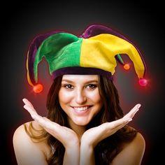 LED Light Up Mardi Gras Velvet Jester Hat  17b67f01fda8