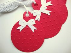 Christmas Gift Tags Red and White Embossed