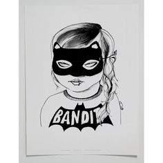MINI AND MAXIMUS BANDIT GIRL POSTER- BLACK Girl Posters, Kids Room Wall Art, Art Mural, Illustrations, Oeuvre D'art, Kids Fashion, Poster Prints, Black And White, Mini