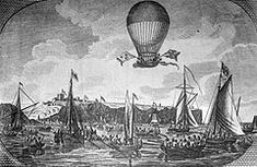 January First air crossing across the English Channel - Frenchman Jean-Pierre Blanchard and American Dr. John Jeffries make the first crossing of the English Channel in a hydrogen balloon. One Balloon, Hot Air Balloon, Jean Pierre Blanchard, London In August, January 7, Balloon Flights, English Channel, French History, Today In History