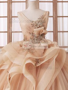 Princess V-neck Floor-length Tulle Beading Backless Champagne Ruffle Wedding…